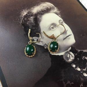 Malachite & Gold Vermeil Over Sterling Earrings